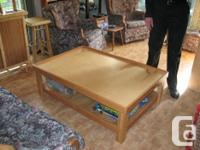 Custom made all wood train table with reversible top -