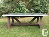 Custom-made Made Huge Farmhouse Table with Solid Zinc