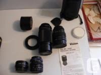 1- Olympus OM 10 with a 49 mm OPTEX bayonet lens, a
