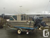 19 feet shut log cabin welded alum watercraft. With 115