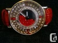 BRAND NEW BEAUTIFUL SWAROVSKI CRYSTALS RED LEATHER
