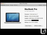 "MacBook Pro 15"" Hi-Res. Early 2011.  2.0 GHz i7"