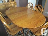 Solid Oak eating table & 6 chairs (no verneers), plus