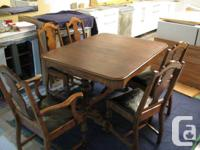 Antique Solid Lumber Table & 5 Chairs. (Table leading