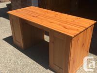 Solid wood pedestal desk in excellent condition. Black