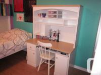 "desk with hutch_white with beech colour top 50""w x 24""d"