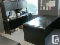desk, shelved wall unit and  filing cabinet set. four
