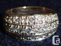 Ladies gold ring, 14K. 3 rows, 1.5 carat diamonds.
