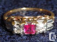 Ladies engagement ring White & yellow 14 Karat gold 2