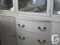 Beautiful vintage hutch lovingly upgraded in soft gray