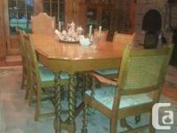 Barley twist medium tone color oak dining room