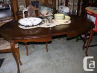 Dining room table with leaf, 4 chairs recently