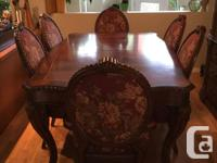 Dining room suite c/w 6 chairs and two extension