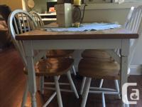 Great table with a rustic look. Chairs are nice and