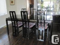Black lacquer dining room table and 8 chairs-purchased