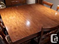 7 piece cherry wood finish solid wood dining room suite