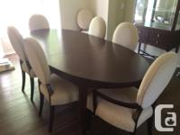 Walnut table with leaf with 8 gorgeous upholstered