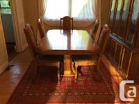 Solid oak dining set. 6 chairs, table with a leaf, 170