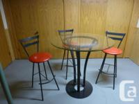 36''glass table with three chairs, new, good looking! I