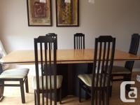 Maple and black modern set. Dining table includes 6