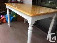 "pine top dining table with four chairs table 48"" x 30"