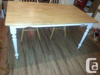 Beautiful country look dining table , wood top & white