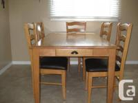 """38"""" X 66"""" table with 6 chairs Drawer on one end of"""