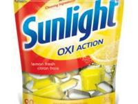Marketing boxes of Sunshine dishwasher and washing