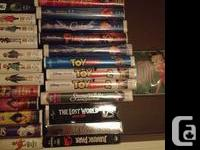 Disney & Pixar. $4 each. Regular kids VHS such as