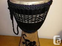 Elephant design carved into drum  13inch goat skin top