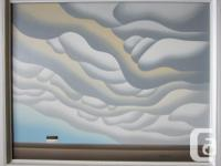 Framed Don Bergland painting titled Prairie Clouds