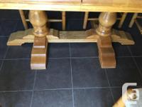 Solid oak double pedestal kitchen table and 6 chairs (4