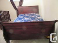 Sleigh Bed made with fir, dark stain. Will take offers