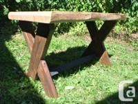 Newly finished Douglas fir live edge desk with fir legs