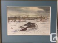 "Original Watercolor by F Dean Locke ""Prairie Winter"