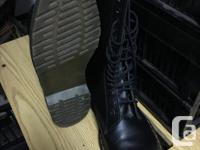 Dr Martens size 11, 14-eye boots. Worn once for a photo
