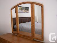 Solid Oak Dresser w/Mirror - simplicity in style Triple