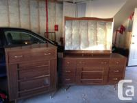 Vintage tall drawer chest and dresser with mirror