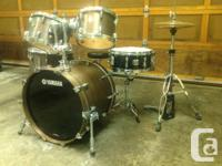 Selling my Yamaha Maple Custom drum set. Dark maple