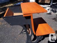 Drum set: $100 Antique school desk- wrought iron and