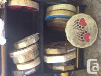 Hand crafted, handheld First Countries drums. Wide