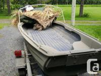 Boatex 1200 dingy set up for duck hunting, includes