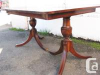 Duncan Phyfe dining room table mahogany double pedestal