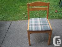 NICE WOODEN PINE CHAIRS with fabric seats. 2 are