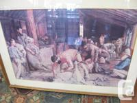 Early Aussie large print folk art sheep shearing scene