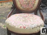 Edwardian occasional petty point balloon back chair