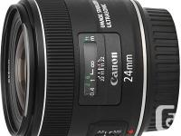 CANON EF 24MM F/2.8 IS USM LENS - BRAND NEW. ADDED LENS