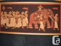 This Egyptian batic print painting is 17 1/2 by 35