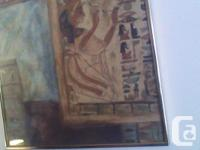 Egyptian scenic canvas painting with glass and frame.