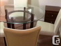MOVING SALE Elegant round glass top wood base dining